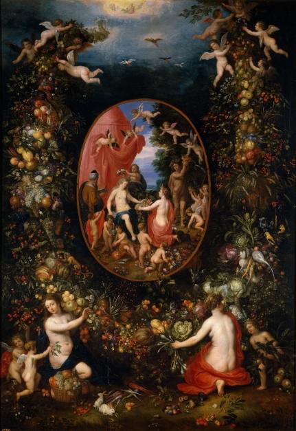 Cibeles y las Estaciones dentro de un festón de frutas Brueghel