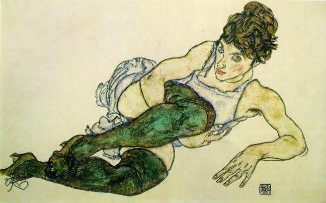 Mujer reclinada con medias verdes -Egon Schiele. 1917.
