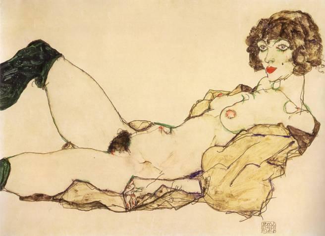 Mujer reclinada con medias verdes, Egon Schiele, 1917; Gouache y crayon negro sobre papel, 29x46cm colección privada