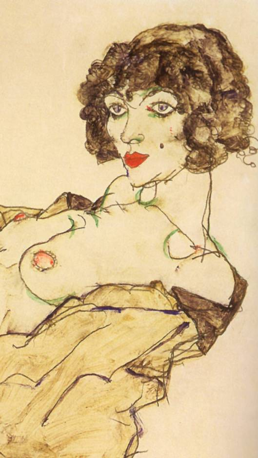 Detalle -Mujer reclinada con medias verdes Egon schiele (1917)