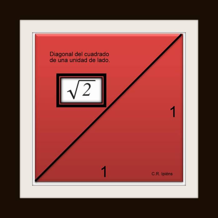 Raíz cuadrada de 2, inconmensurable pitagórico.