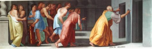 En la biblioteca del Escorial, cerca de Madrid, España, hay un fresco pintado entre 1588 y 1595 por Bartolomeo Carducci (1560 - 1608) o Pellegrino Tibaldi (1527 - 1596), que nos muestra a un anciano señalando dos puertas con las inscripciones Veritas y Falsitas. El anciano es seguido por un grupo de jovenes, varios de ellos con libros en sus manos. A sus pies se lee Zenon Heleates.