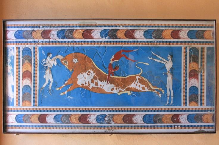El juego del toro, fresco en el palacio minoico deKnossosen la isla griega de Creta(El original está en elMuseo Arqueológico de Heraklion)