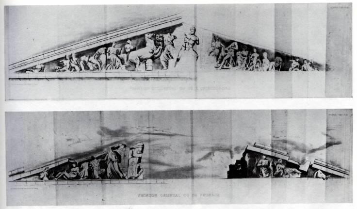 Jacques Carrey, Frontones occidental y oriental del Partenón, 1674