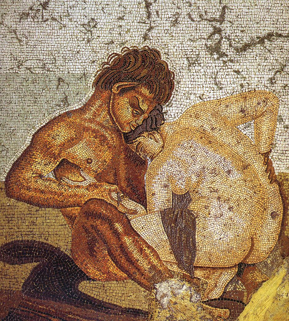 Mosaico romano de la cubiculum en la Casa del Fauno