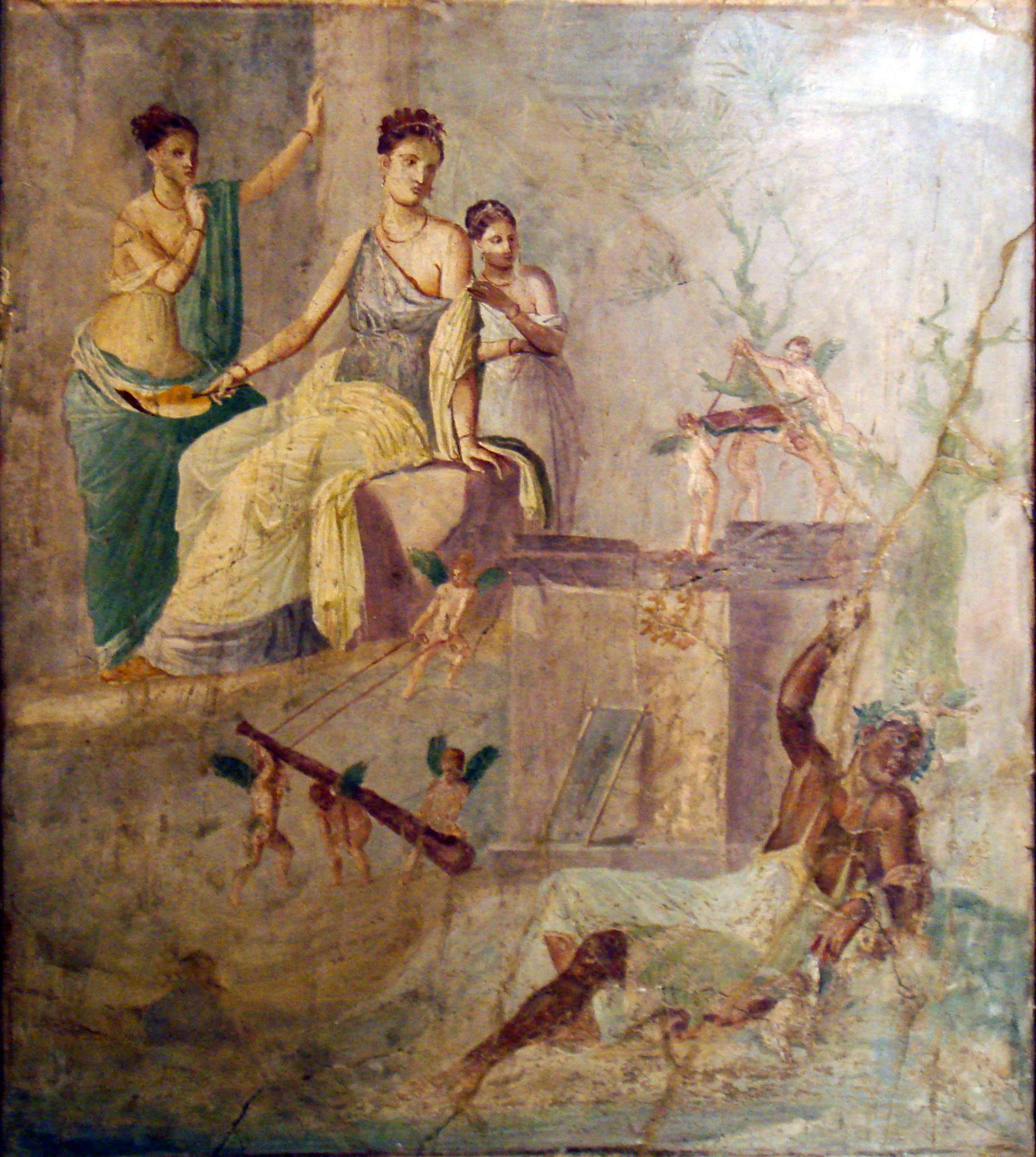 Affresco romano eracle ebbro e onfale.
