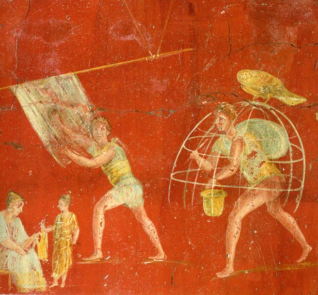 Fresco romano del fullonica (tienda de tintorero) de Veranio Hypsaeus en Pompeya.