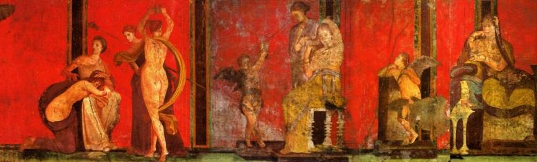 Frescos de la Villa de los Misterios –Pompeya- En un largo friso corrido, las escenas de iniciación dionisiaca van comunicando su complicado y expiatorio ritual hasta llegar a la plena comunicación con el dios Dionisio.