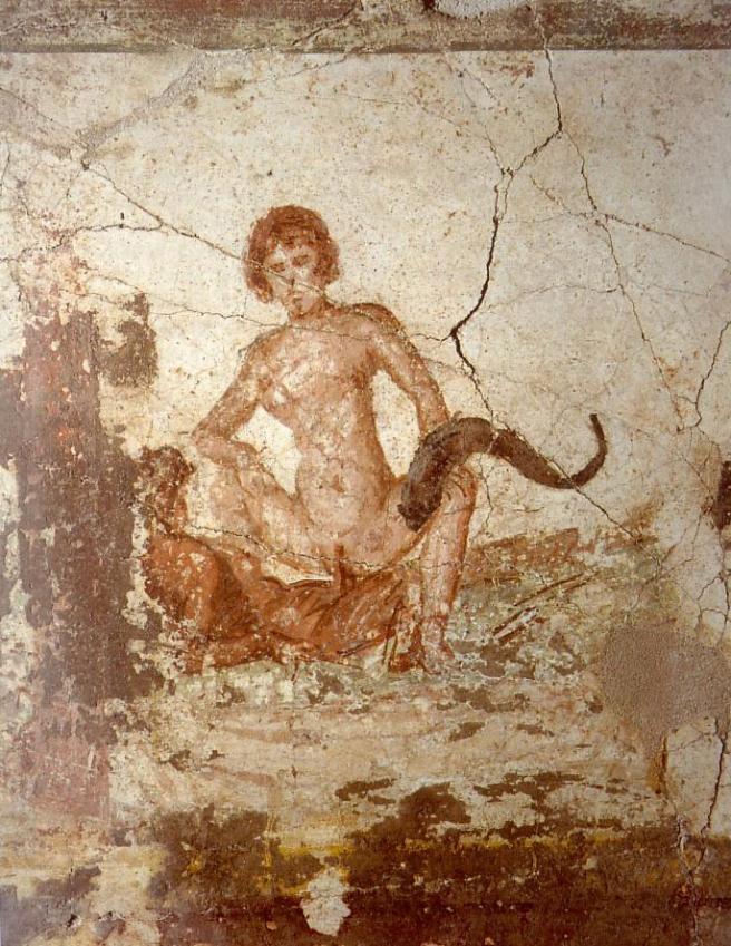 Fresco erótico de Pompeya desde el Thermae.
