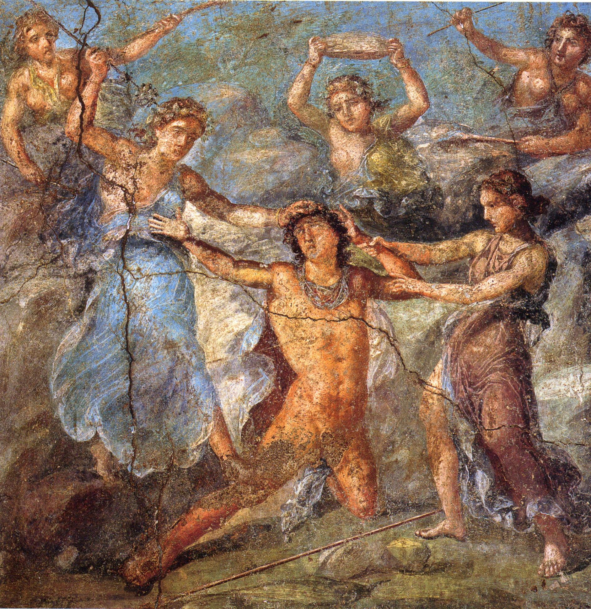 Penteo está desgarrado por las ménades. Fresco romano de la pared norte del triclinium de la Casa dei Vettii)