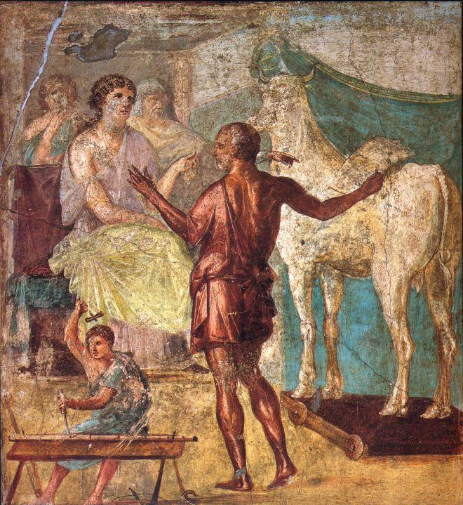 Dédalo mostrando la vaca a Pasifae