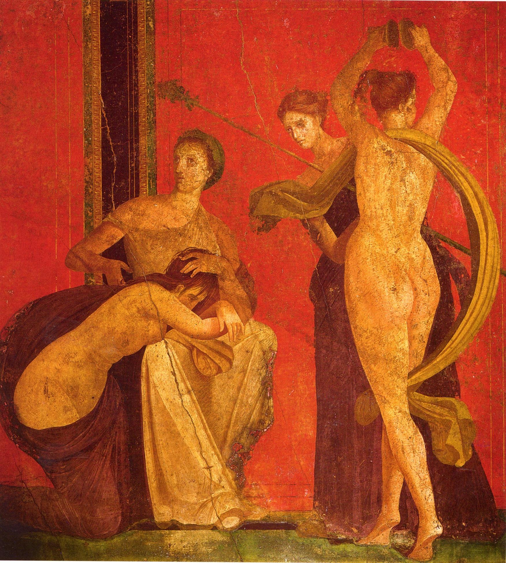 Técnica encáustica, Frescos de la Villa de los Misterios –Pompeya-