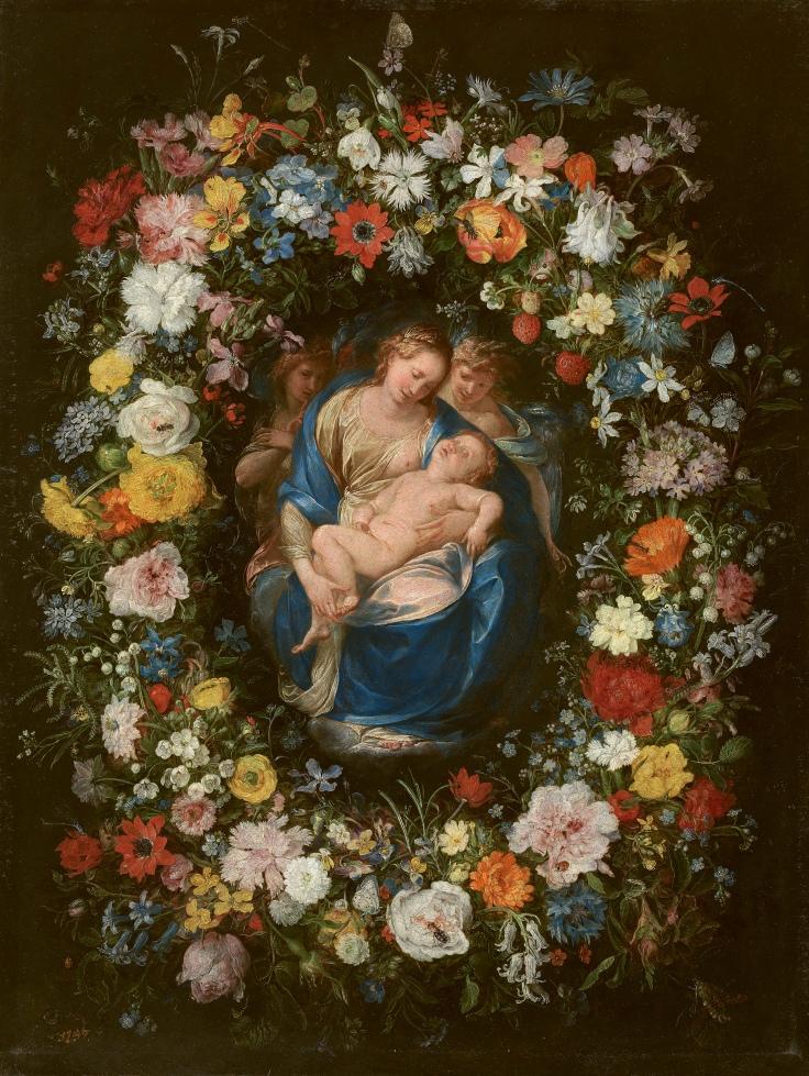 Guirnalda con la Virgen, el Niño y dos ángeles, Jan Brueghel el viejo y Giulio Cesare Procaccini, sala 5
