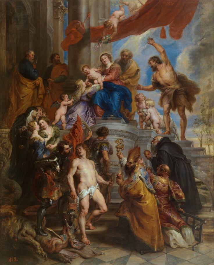 La Sagrada Familia rodeada de santos, Pedro Pablo Rubens sala 7