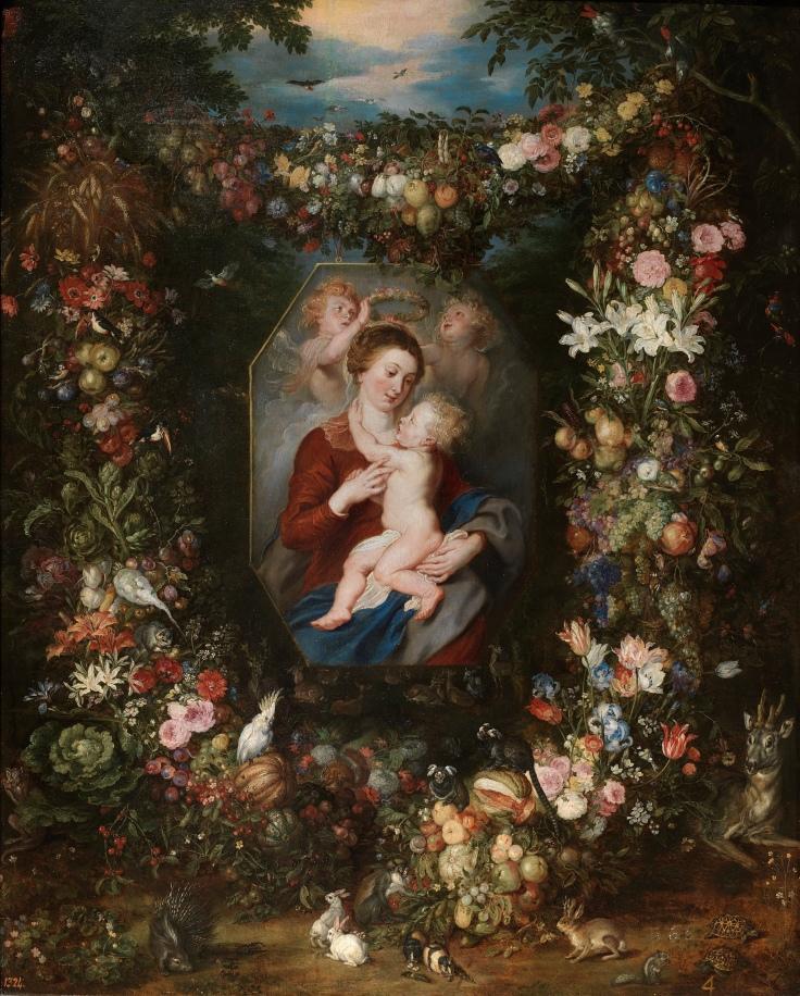 La Virgen y el Niño en un cuadro rodeado de flores y frutas, Pedro Pablo Rubens y Jan Brueghel el Viejo sala 7