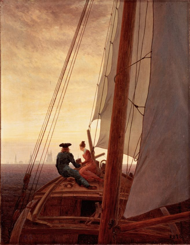 On a Sailing Ship. Caspar David Friedrich