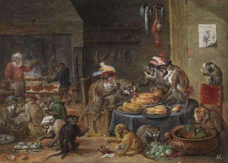 Banquete de monos, David Teniers