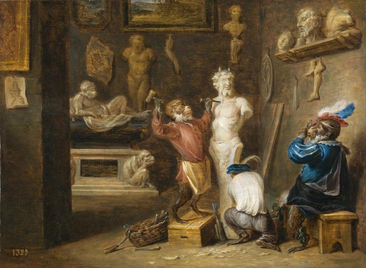 El mono escultor, David Teniers