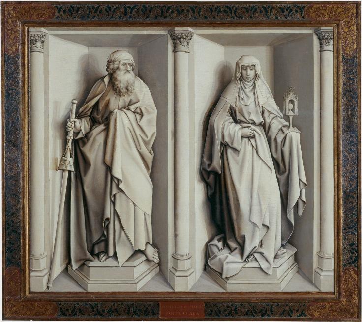 Los Desposorios de la Virgen, Campin, Robert reverso grisalla