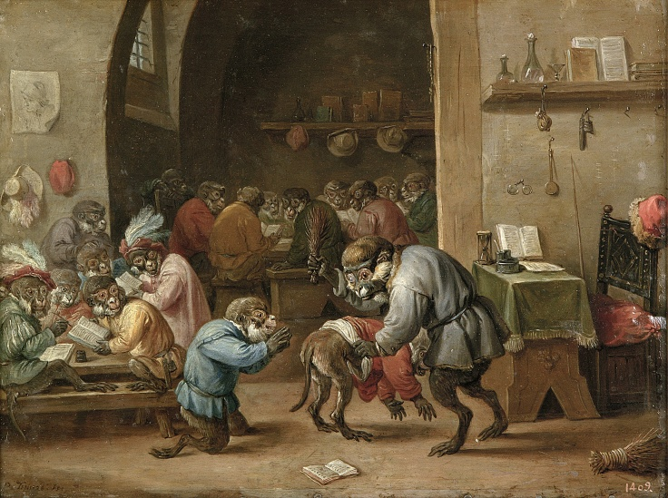 Monos en la escuela, David Teniers