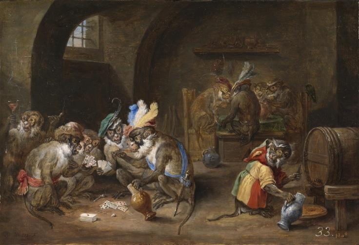 Monos en una bodega, David Teniers