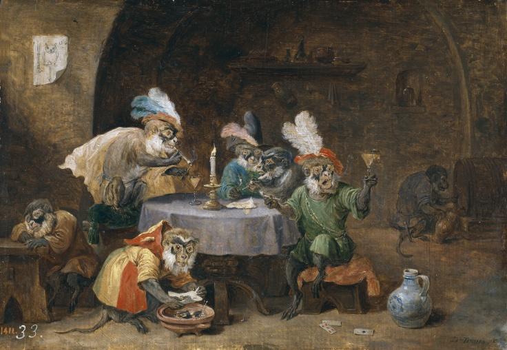 Monos fumadores y bebedores, David Teniers