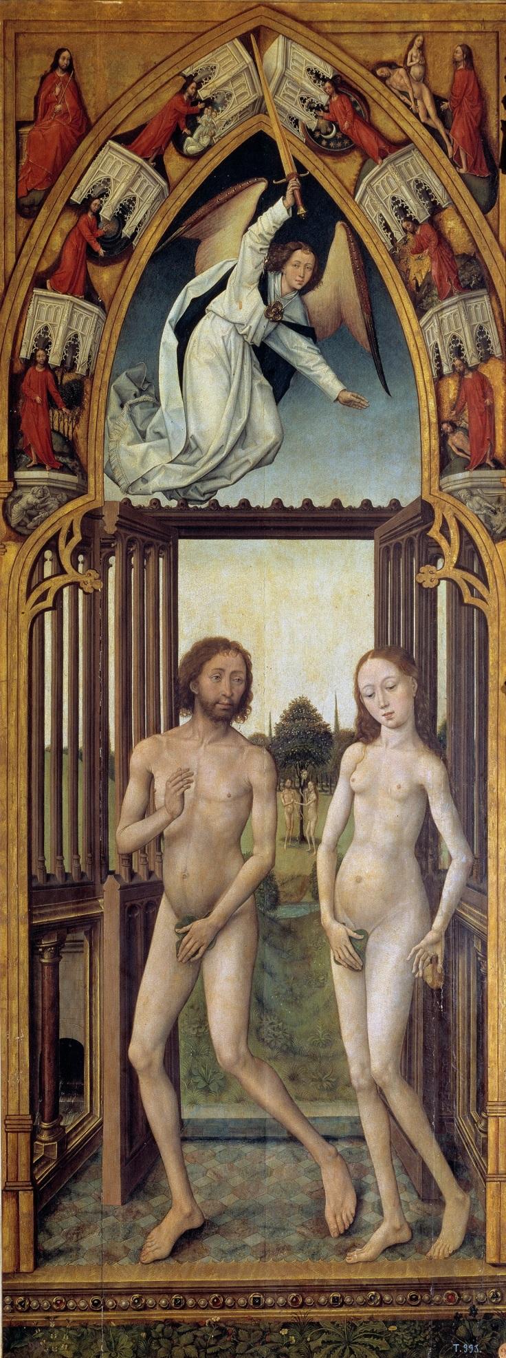 Tríptico de la Redención Adán y Eva expulsados del Paraísomp