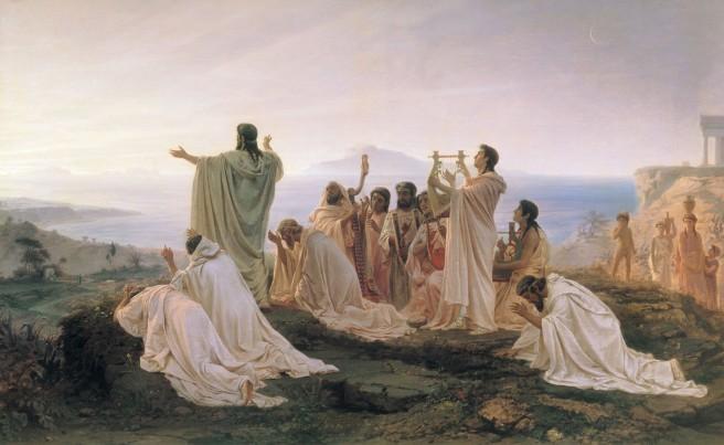 Pitagóricos celebrando el amanecer. Óleo de Fyodor Bronnikov.