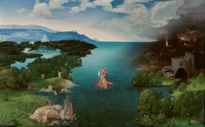 El paso de la laguna Estigia (1520-24). Óleo sobre tabla, 64x103cm. Cuadro de gabinete. Joachim Patinir (H. 1480-1524). Escuela Flamenca. Museo Nacional del Prado.