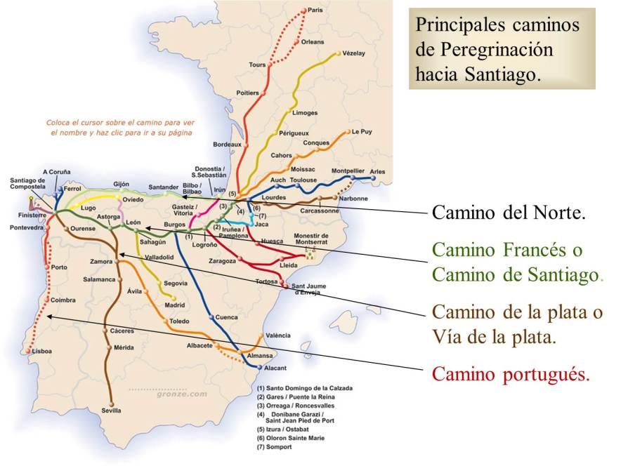 Principales caminos de peregrinación a Santiago de Compostela.