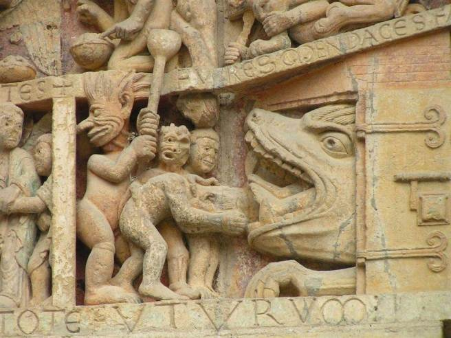 Detalle del Tímpano de Santa Fe de Conques. (Francia)