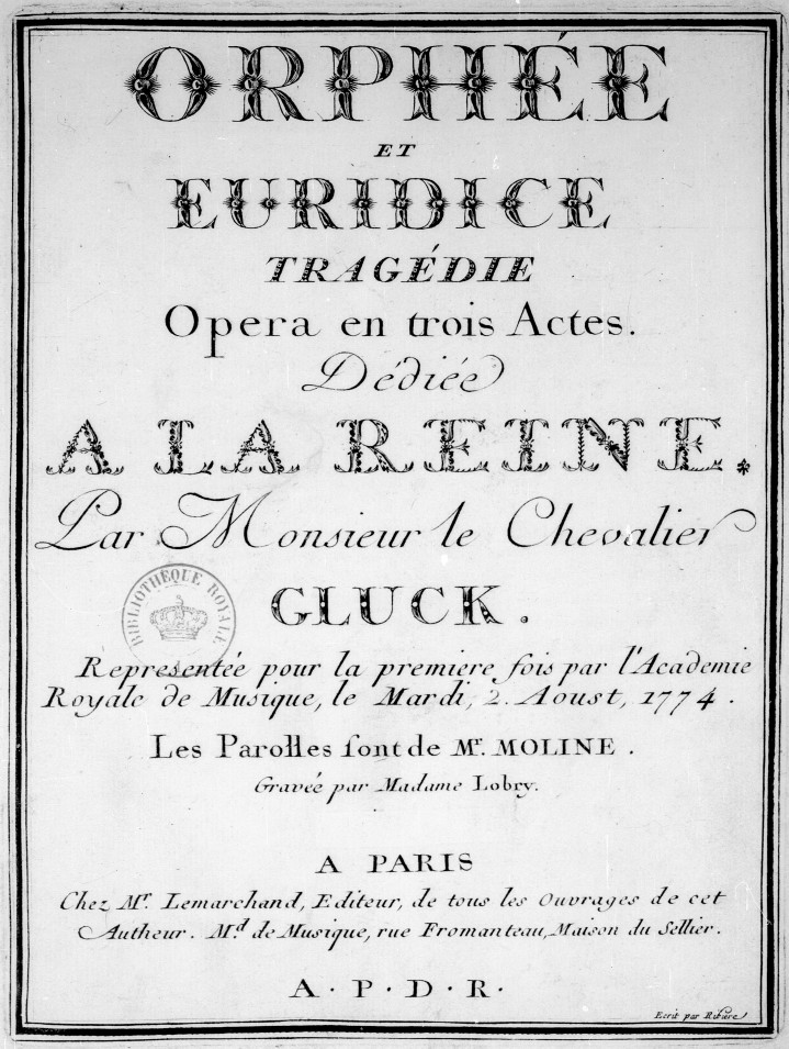 Orphée et Euridice, (Gluck) Tragedia, Opera en tres actes. 1774