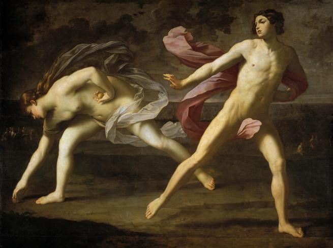 Reni, Guido. Hipómenes y Atalanta. 1618 – 1619. Óleo sobre Lienzo. 206 cm x 297 cm. Escuela Italiana. Museo del Prado.