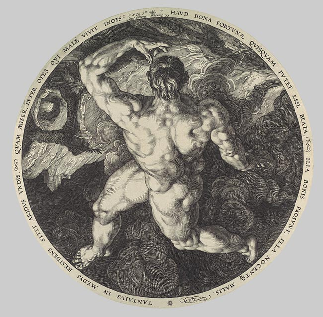 Hendrick Goltzius - Tantalus_ Icarus_ Phaeton_ and Ixion_ From the series The Four Disgracers