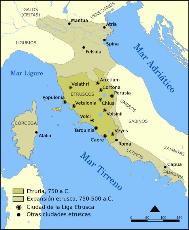 Mapa que muestra la extensión de la civilización etrusca y la dodecápolis.