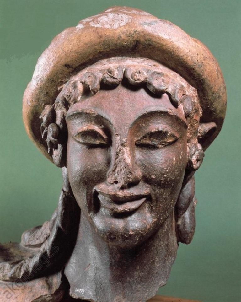 Cabeza de Hermes, Terracota en Portonaccio. (Museo Nacional Etrusco de Villa Giulia, Roma)