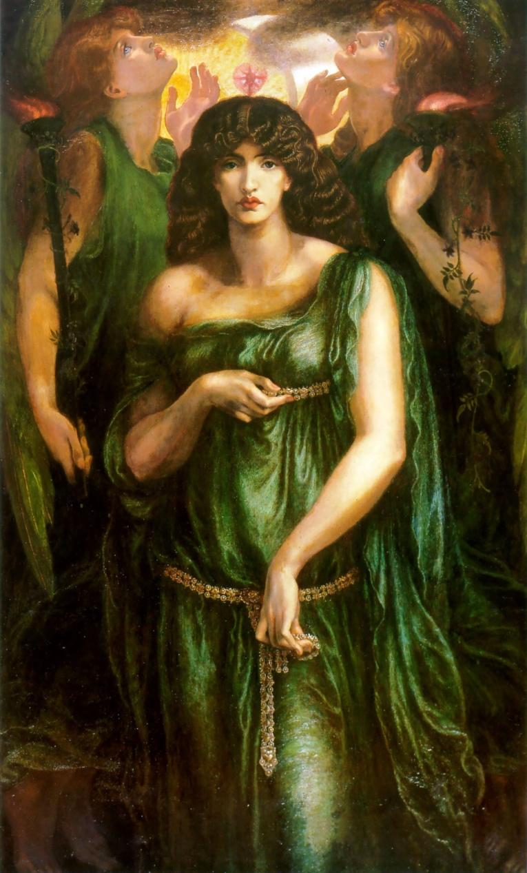 Dante Gabriel Rossetti (1828–1882). Astarte Syriaca, (1877). Óleo sobre lienzo, 182,8 × 106,7 cm. Manchester Art Gallery.