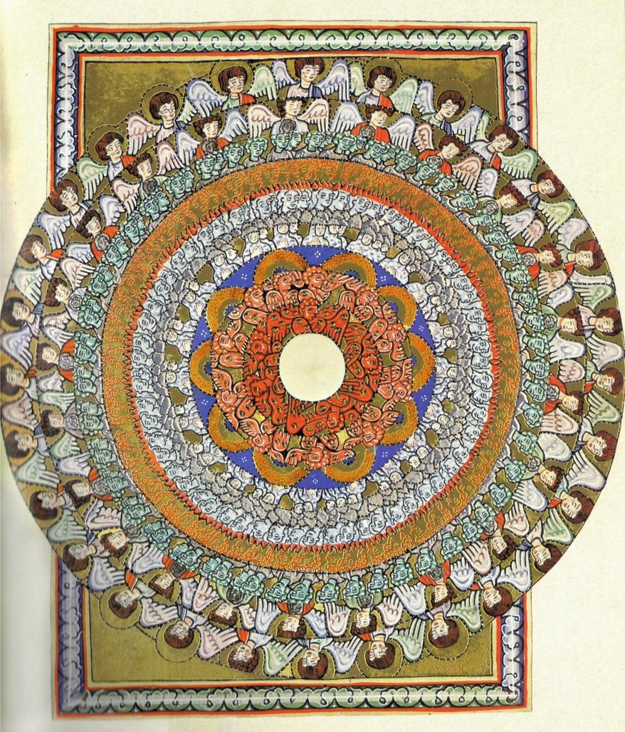 La jerarquía angélica. Visión sexta del libro del Scivias. Códice de Wiesbaden. Facsímil de 1927.