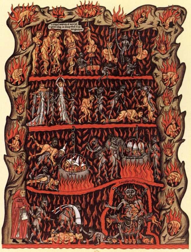 El infierno. Hortus Delicarum. Herrada de Landsberg.