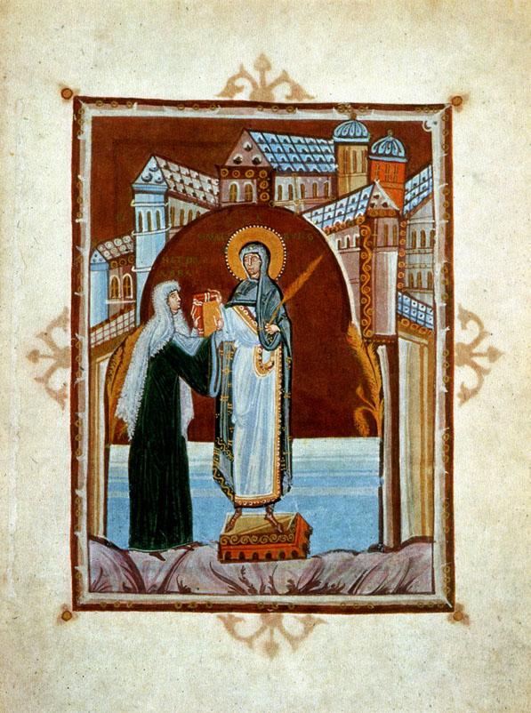 Autorretrato ofreciendo su libro a la santa de su orden. Portada del Codex Hitda.
