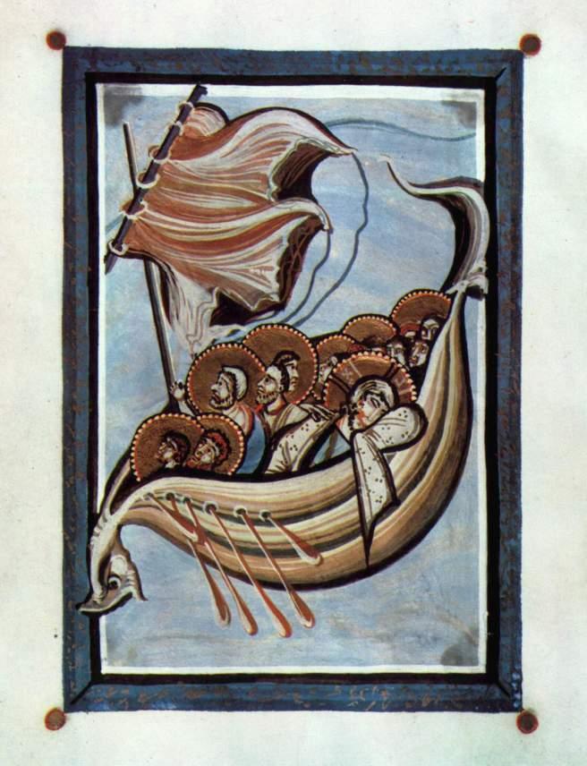Codex Hitda. La tormenta en el mar.