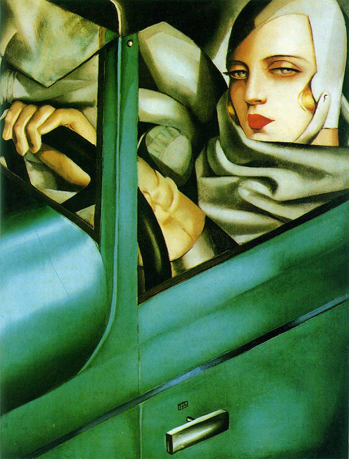 """Tamara de Lempicka recuerda en su autorretrato 1929 """"Tamara en Bugatti verde"""", la trágica muerte de la bailarina estadounidense Isadora Duncan que murió estrangulada en 1927, cuando su largo chal se enreda en una de las ruedas posteriores de su Bugatti."""