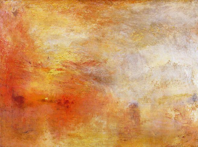 J.M.W. Turner, 1840. Puesta de sol sobre un lago. 107x138cm. Tate Collection, Londres.