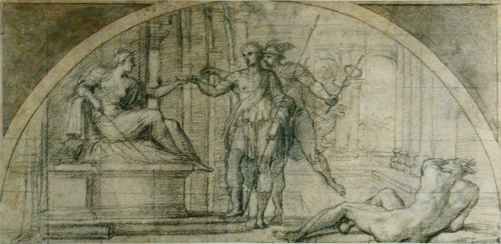 Dibujo de los años 1590, obra de A. Carracci: Hermes protege de Circe a Odiseo.