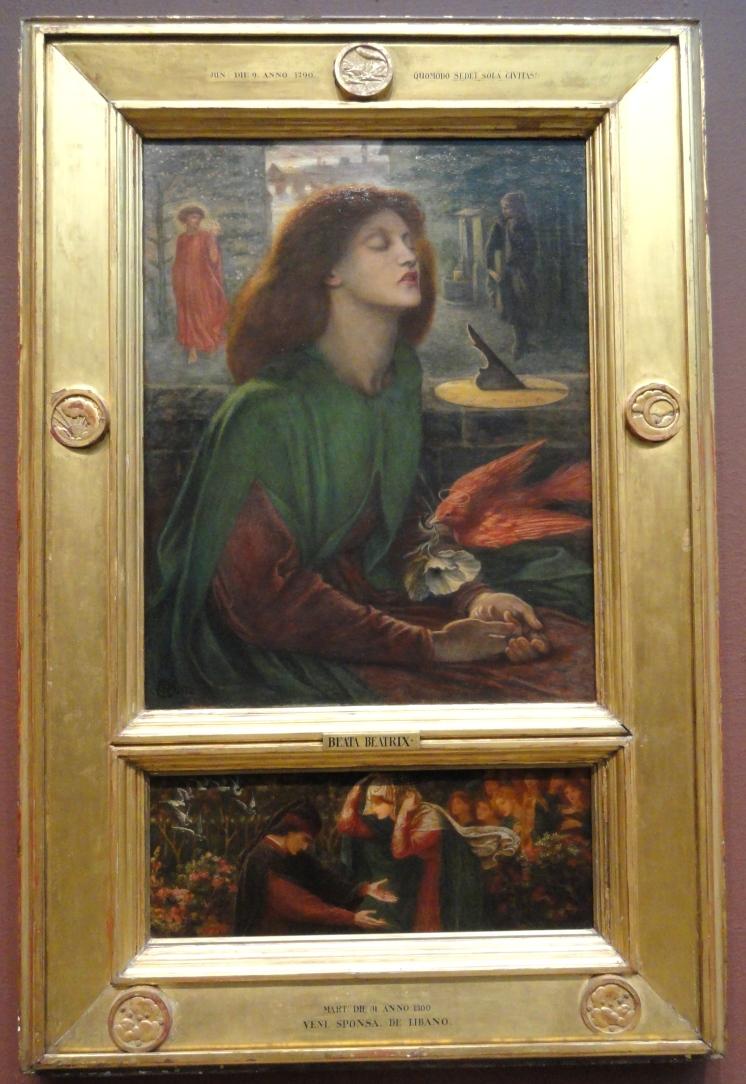 En esta versión Rossetti añadió una predela inferior en la que aparecen Dante y Beatriz. Él mismo realizó también el diseño del marco El mensaje directo de la amapola que esta paloma parece dejar caer sobre las manos de Elisabeth es, sin duda, el de la muerte (traída por el opio), pero la imagen es también símbolo de la castidad y de la propia paz alcanzada por Elisabeth tras su muerte.