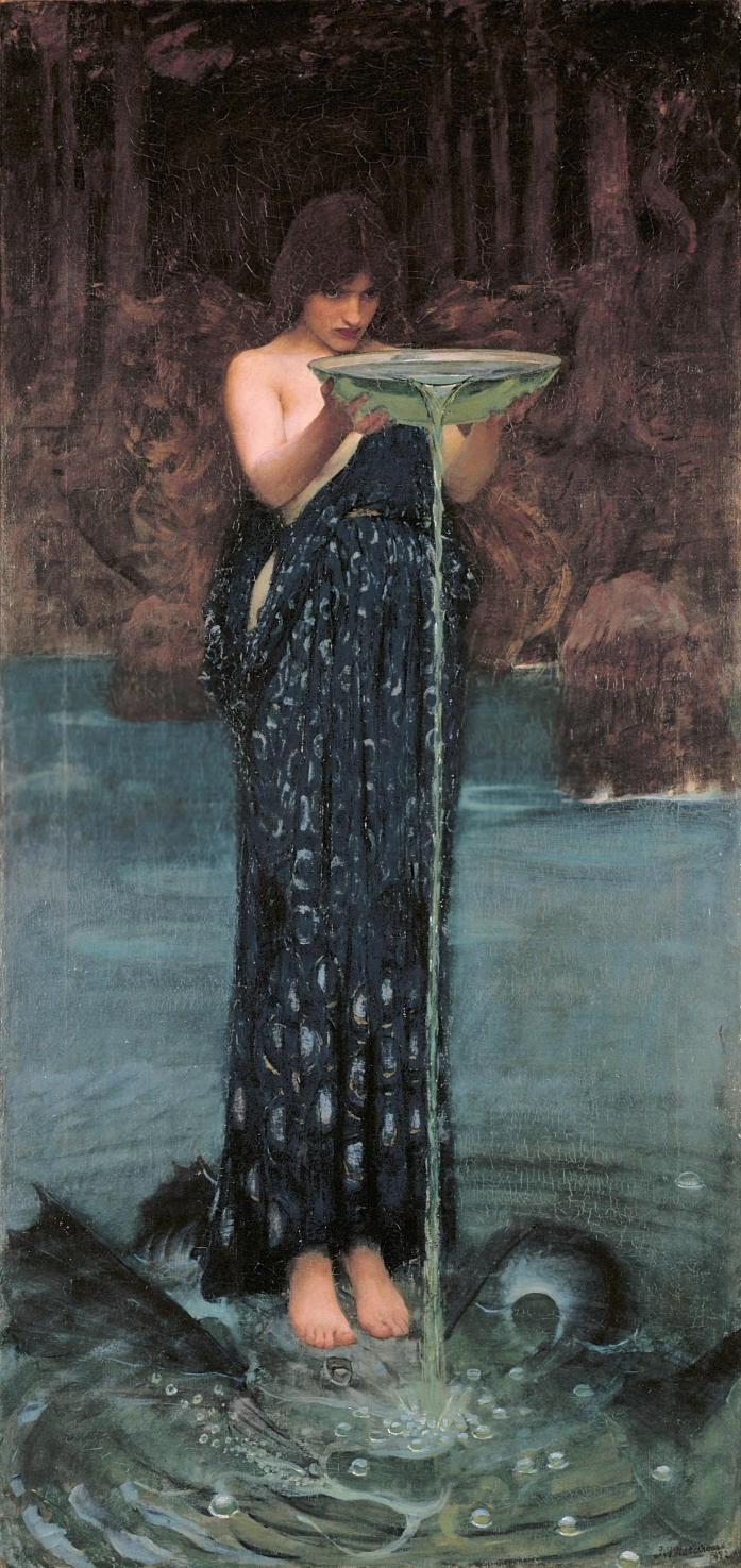 John William Waterhouse (1849–1917). Circe envenenando el mar o Circe celosa. 1892. Óleo sobre tela. 180,7 × 87,4 cm. Art Gallery of South.