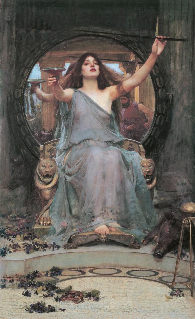 """John William Waterhouse (1849–1917). Circe Offering the Cup to Odysseus. 1891.  """"Obra titulada """"Circe ofreciendo la copa a Odiseo"""", pintada en 1891 por John William Waterhouse. Gallery Oldham, U.K. Se trata de una escena de la mitología griega, donde la diosa quiere dar al héroe de La Ilíada, una poción para que caiga bajo su encantamiento. Puede observarse el detalle de Ulises en el espejo""""."""