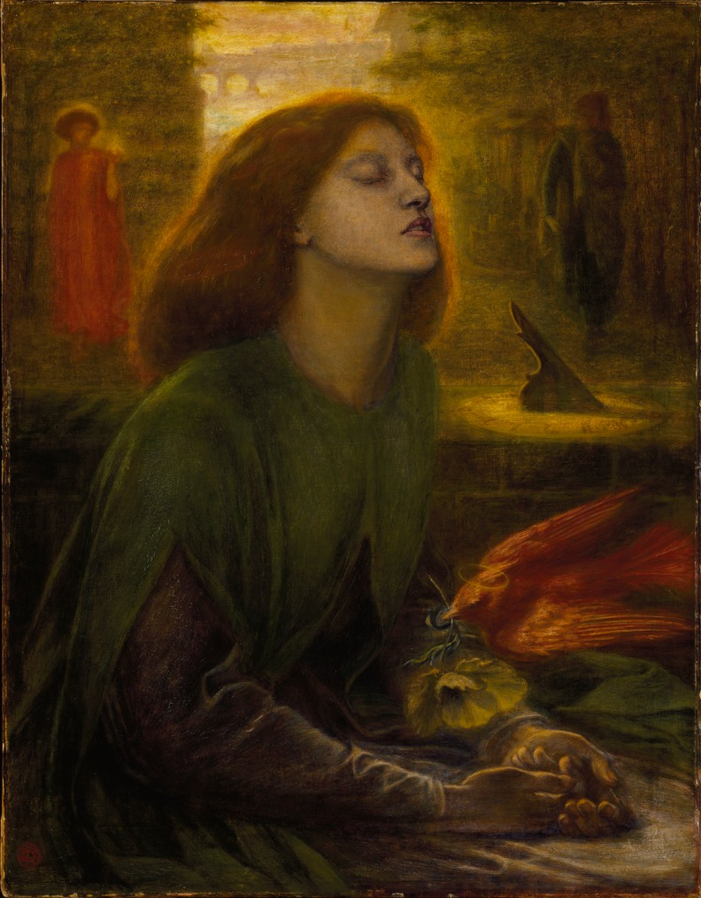 Dante Gabriel Rossetti (1828–1882); Beata Beatrix, (1864). Óleo sobre lienzo,86,4x66 cm. Tate Britain, Londres.