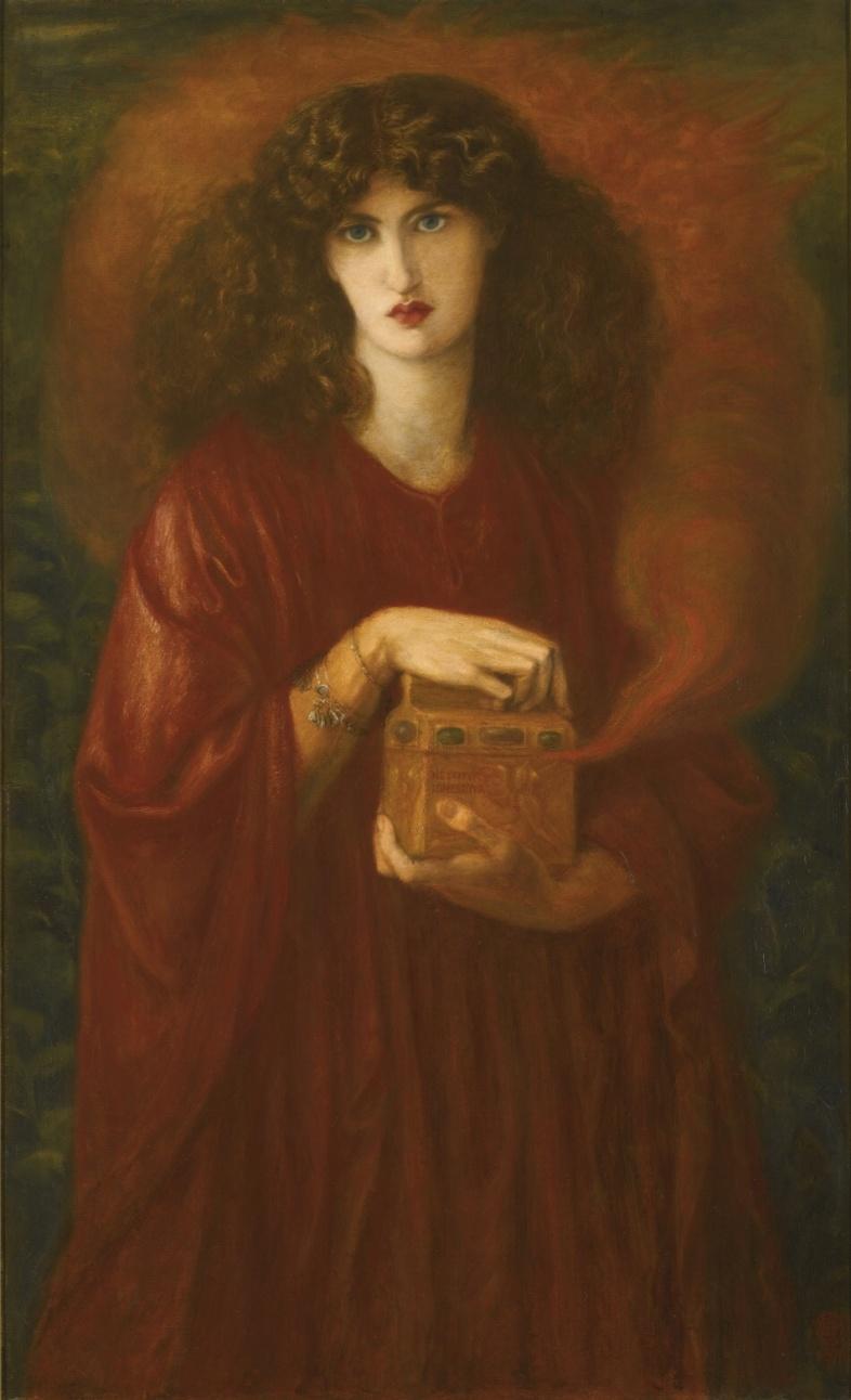 Dante Gabriel Rossetti (1828–1882), Pandora, 1869. Óleo sobre lienzo, 131 × 79 cm. Retrato de Jane Morris. Colección Privada.