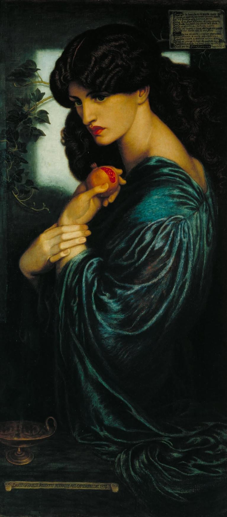 Dante Gabriel Rossetti (1828–1882), Proserpina, (1873-77).Óleo sobre lienzo, 125.1x61 cm. Tate Britain, Londres.